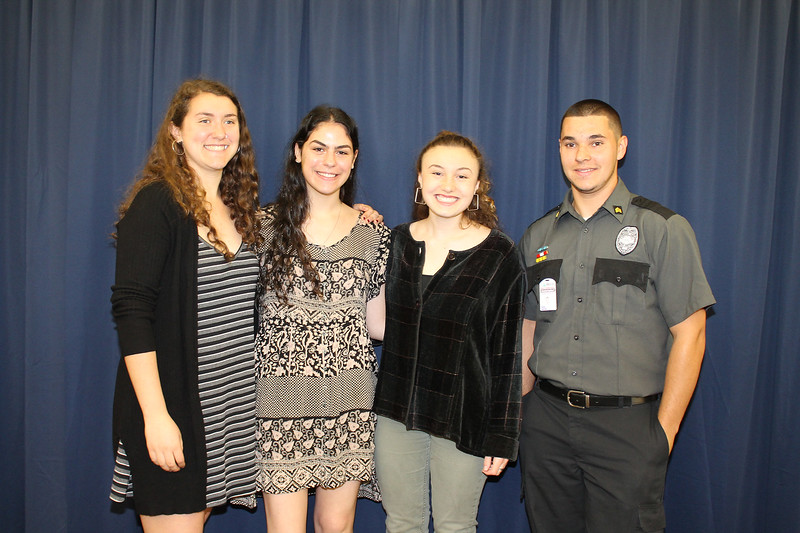 From left to right: Onteora High School Principal's Award recipient Gabrielle Raphael, Salutatorian Sophie Heckelman, Valedictorian Jacqueline Katz, and Ulster BOCES Career & Technical Center Principal's Award recipient from Onteora High School Carlos Santiago.