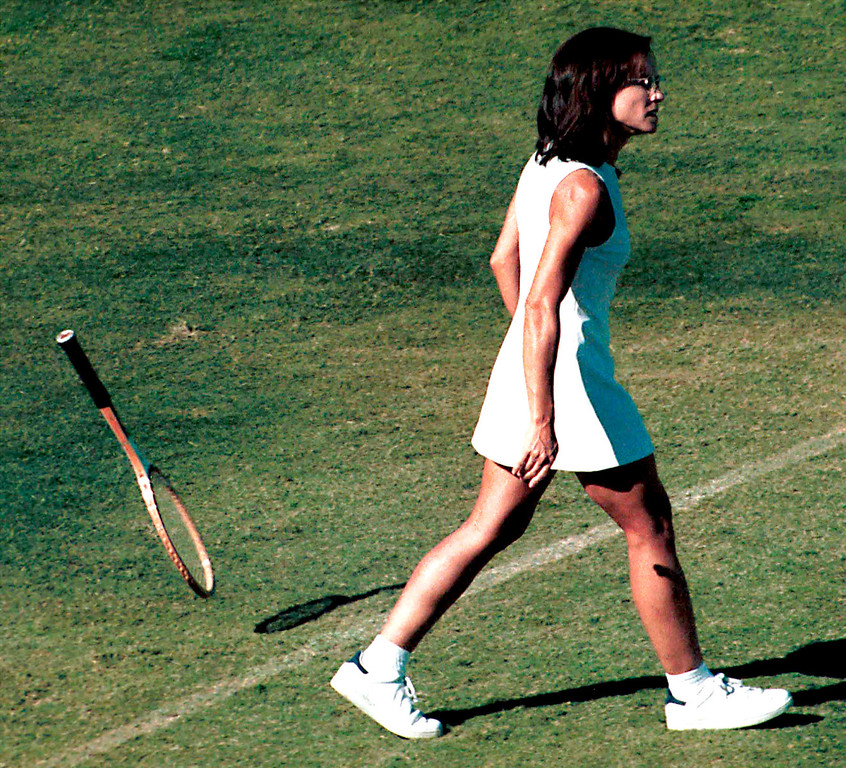 """. Actress Holly Hunter films a scene on the set of \""""When Billie Beat Bobby\"""" taken in March 2001 in Los Angeles, CA. The television movie is based on the historic 1973 tennis match between tennis champion Bobby Riggs and young feminist Billie Jean King. Hunter stars as Billie Jean King. (Photo by Peter Brandt/Getty Images)"""