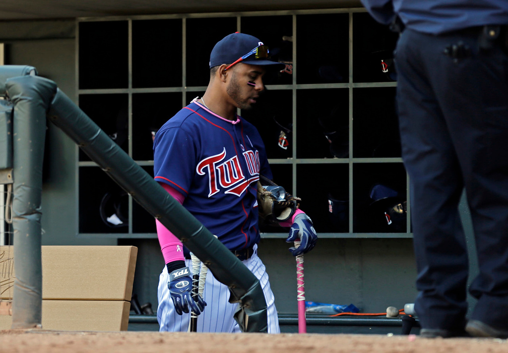 . Minnesota\'s Wilkin Ramirez leaves the dugout after the Twins\' 6-0 loss to Baltimore. (AP Photo/Jim Mone)