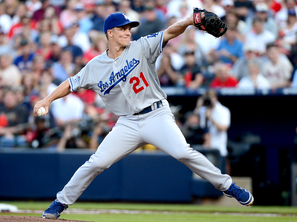 . Los Angeles Dodgers\' Zack Greinke pitches to the Atlanta Braves in game 2 of the playoffs Thursday, October 4, 2013 at Turner Field in Atlanta, Georgia as the Braves defeated the Dodgers 4-3. (Photo by Sarah Reingewirtz/Pasadena Star- News)