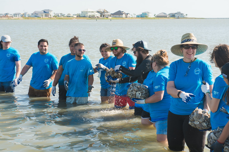 "Volunteers around the coastal bend gathered at Goose Island State Park to assist in the Oyster Reef Restoration ""Sink Your Shucks"" event.