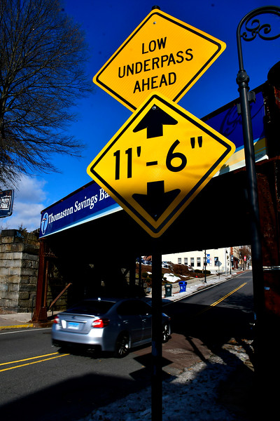 1/25/2019 Mike Orazzi | Staff The low underpass sign on Main Street in Bristol.