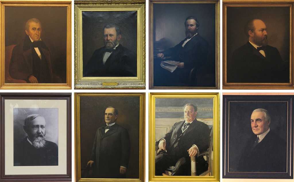 . The eight presidents Ohio claims are the following: top row, from left, William Henry Harrison (1841), Ulysses S. Grant (1869-1877), Rutherford B. Hayes (1877-1881) and James A. Garfield (1881); and bottom row, from left, Benjamin Harrison (1889-1893), William McKinley (1897-1901), William Howard Taft (1909-1913) and Warren G. Harding (1921-1923). The Capitol Square Review and Advisory Board has planned a celebration of all dads, including the fathers of the United States who have called Ohio home, from noon to 3 p.m. June 18 at the Ohio Statehouse. For more information, visit ohiostatehouse.org. (Courtesy Ohio Statehouse)