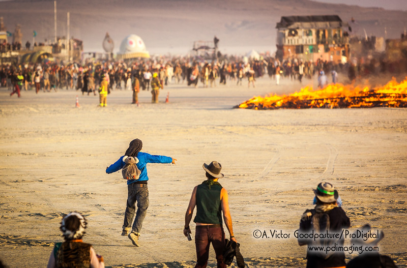 Approaching the fire is one of the highlights of Burning Man.