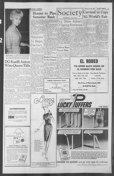 Daily Trojan, Vol. 53, No. 73, February 20, 1962