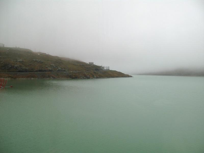 Lago Bianco lake at the Bernina pass