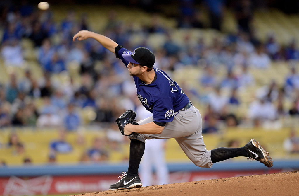 . Rockies starting pitcher Tyler Chatwood delivers a pitch against the Los Angeles Dodgers April 29, 2013 in Los Angeles, CA. Chatwood piched six scoreless innings and had three hits at the plate. (Andy Holzman/Staff Photographer)