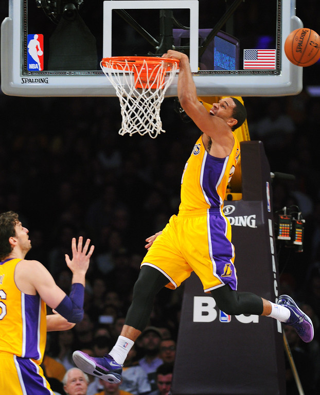 . The Lakers\' Xavier Henry misses a dunk attempt in the fourth quarter, Friday, December 20, 2013, at Staples Center. (Photo by Michael Owen Baker/L.A. Daily News)