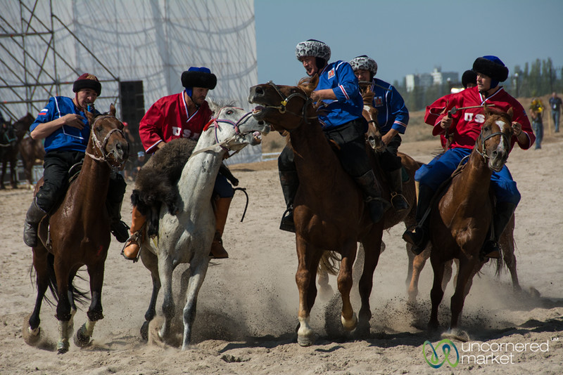 Kok-Boru (goat polo) Match Between the U.S. and Russia - World Nomad Games, Kyrgyzstan