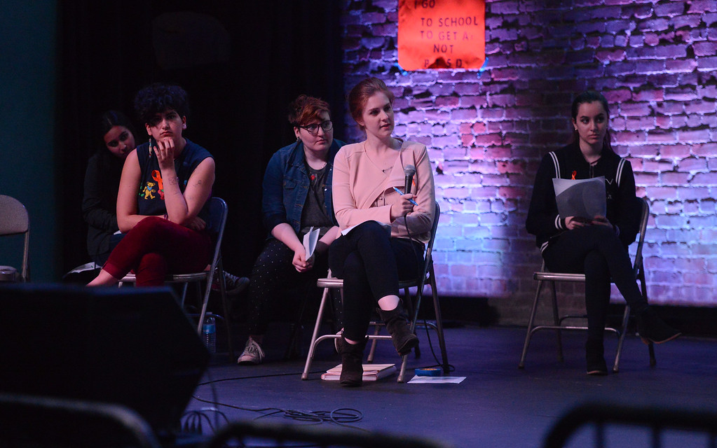 . Lucinda Law, Evan Kerr, Makayla Sharkey, Kailyn Erb and Jordan Michelena listen to the panel during the Town Hall for our Lives event, April 7, 2018, in Chico, California. (Carin Dorghalli -- Enterprise-Record)