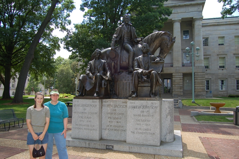 Ellen & Linda outside the old NC State Capitol