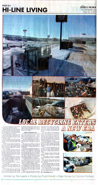 Floyd L Brandt Photojournalist Recycling on the Hi Line November 10, 2017 Havre, Montana High Line Living