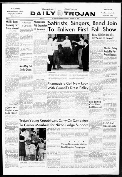 Daily Trojan, Vol. 52, No. 4, September 22, 1960