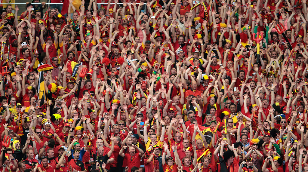 . Belgian fans react during the group H World Cup soccer match between Belgium and Russia at the Maracana stadium in Rio de Janeiro, Brazil, Sunday, June 22, 2014. (AP Photo/Ivan Sekretarev)