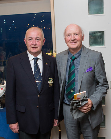 Don Feeley, winner of the Past Presidents Prize in the President's Prize receives his prize from President Colm