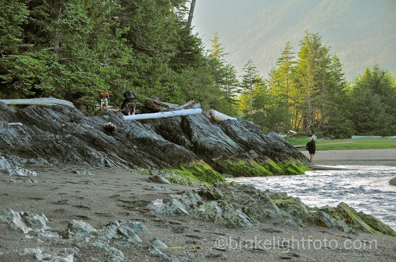 Nootka Island Hikers getting ready to cross a tidal stream