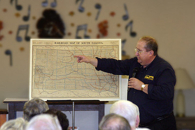 "Mills brought along a 1916 ""Railroad Map of South Dakota.""  It was an era when railroads were near their peak in South Dakota and across the country -- but change was on the horizon!"