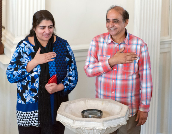 10/16/18 Wesley Bunnell | Staff Zahida Altaf and Malik Naveed Vin Rehman show their gratitude to attendees during a press conference at the First Congregational Church of Old Lyme on Tuesday afternoon. The conference was held to announce the couple will return home to New Britain while awaiting their deportation case which is pending before the 2nd Circuit Court of Appeals. The couple had taken sanctuary at the church in March after being ordered by Customs Enforcement (ICE) to leave the United States by March 19th.