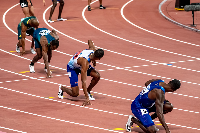 Teams line up for the start of the Men's 4x100m relay during day nine of 17th IAAF World Athletics Championships Doha 2019 at Khalifa International Stadium on October 05, 2019 in Doha, Qatar. Photo by Tom Kirkwood/SportDXB