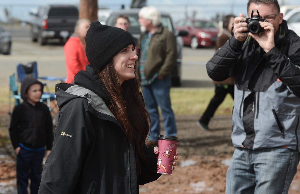 . Natalie Blacker reacts to getting proposed to by her boyfriend, AJ Bondietti, during the Northwest Lineman College\'s graduation rodeo, March 15, 2018, in Chico, California. (Carin Dorghalli -- Enterprise-Record)