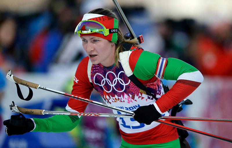 . Belarus\' Darya Domracheva competes  during the women\'s biathlon 15k individual race, at the 2014 Winter Olympics, Friday, Feb. 14, 2014, in Krasnaya Polyana, Russia. (AP Photo/Lee Jin-man)