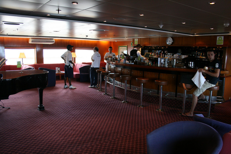 On board T/S FUNCHAL : Piano bar, Promenade deck.