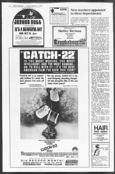Daily Trojan, Vol. 62, No. 9, October 02, 1970