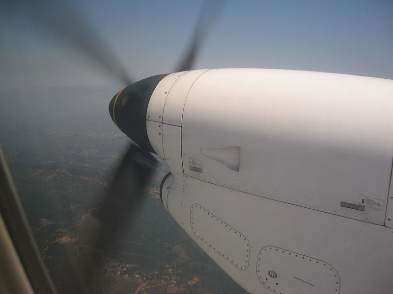 We were on an airplane with propellers! It was my first time. I got to sit by one! w00t!