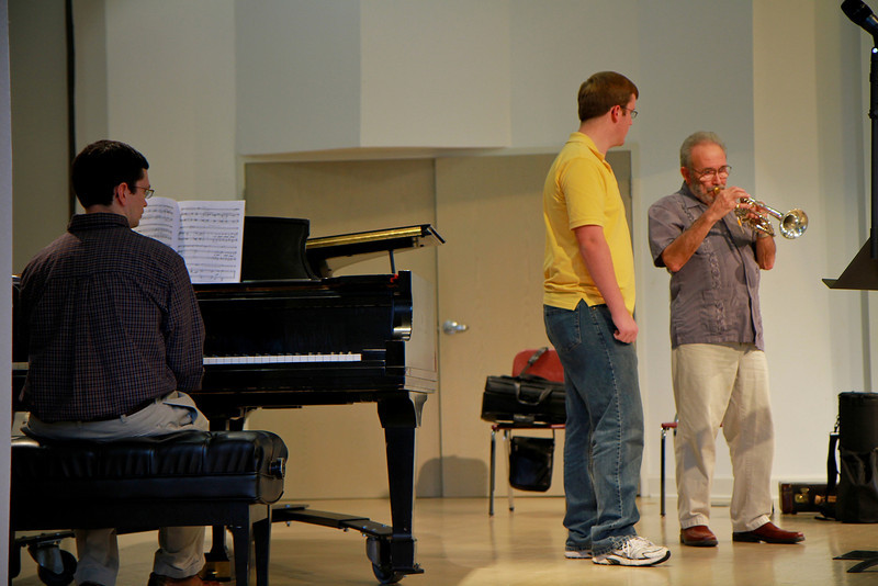 Charles Schlueter, trumpeter for Boston Symphony for 25 years, visits Gardner-Webb to teach a masterclass (clinical) to students.