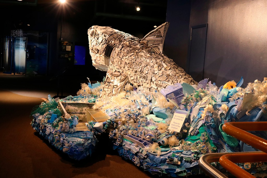 ". In this photo taken July 26, 2018, a section of a boat that washed ashore is incorporated into the sculpture of ""Greta the Great White Shark,\"" one of six sculptures made out of ocean trash as part of a project called \""Washed Ashore: Art to Save the Sea\"" at the Audubon Aquarium of the Americas in New Orleans. (AP Photo/Janet McConnaughey)"