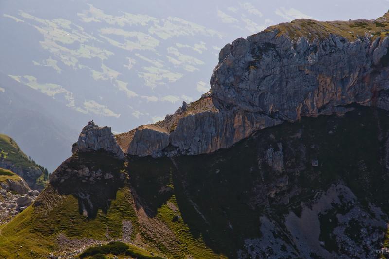 Haidachstellwand-Klettersteig (verläuft von links nach rechts am Grat entlang)