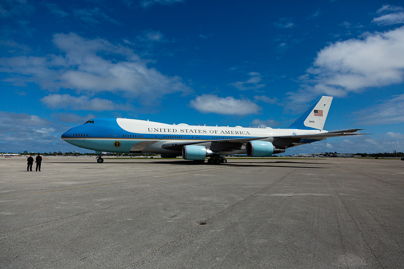 Air Force One sits on the tarmac at Palm Beach International Airport in West Palm Beach, FL on February 16, 2020, before departing for Daytona. [JOSEPH FORZANO/palmbeachpost.com]