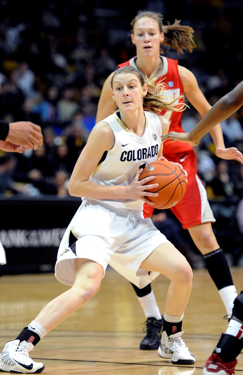 . Lexy Kresl of CU looks to pass against New Mexico during the first half of the December 29, 2012 game in Boulder. Cliff Grassmick / December 29, 2012
