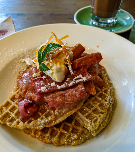 Waffles and rhubarb at Chaos Cafe, New Plymouth