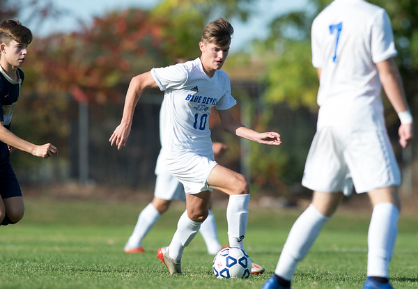 10/15/19 Wesley Bunnell | StaffrrPlainville boys soccer defeated host Newington 2-1 on Tuesday afternoon. Plainvile's Patrick Gryczewski (10).