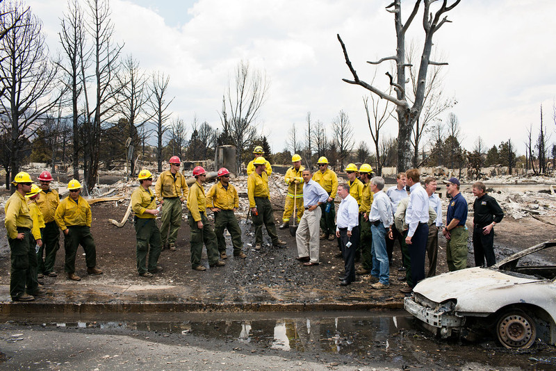 ". June 29, 2012 ""The President views fire damage with firefighters and elected officials in Colorado Springs, Colo. after the devastating wildfires swept through the region the week before.\"" (Official White House Photo by Pete Souza)"