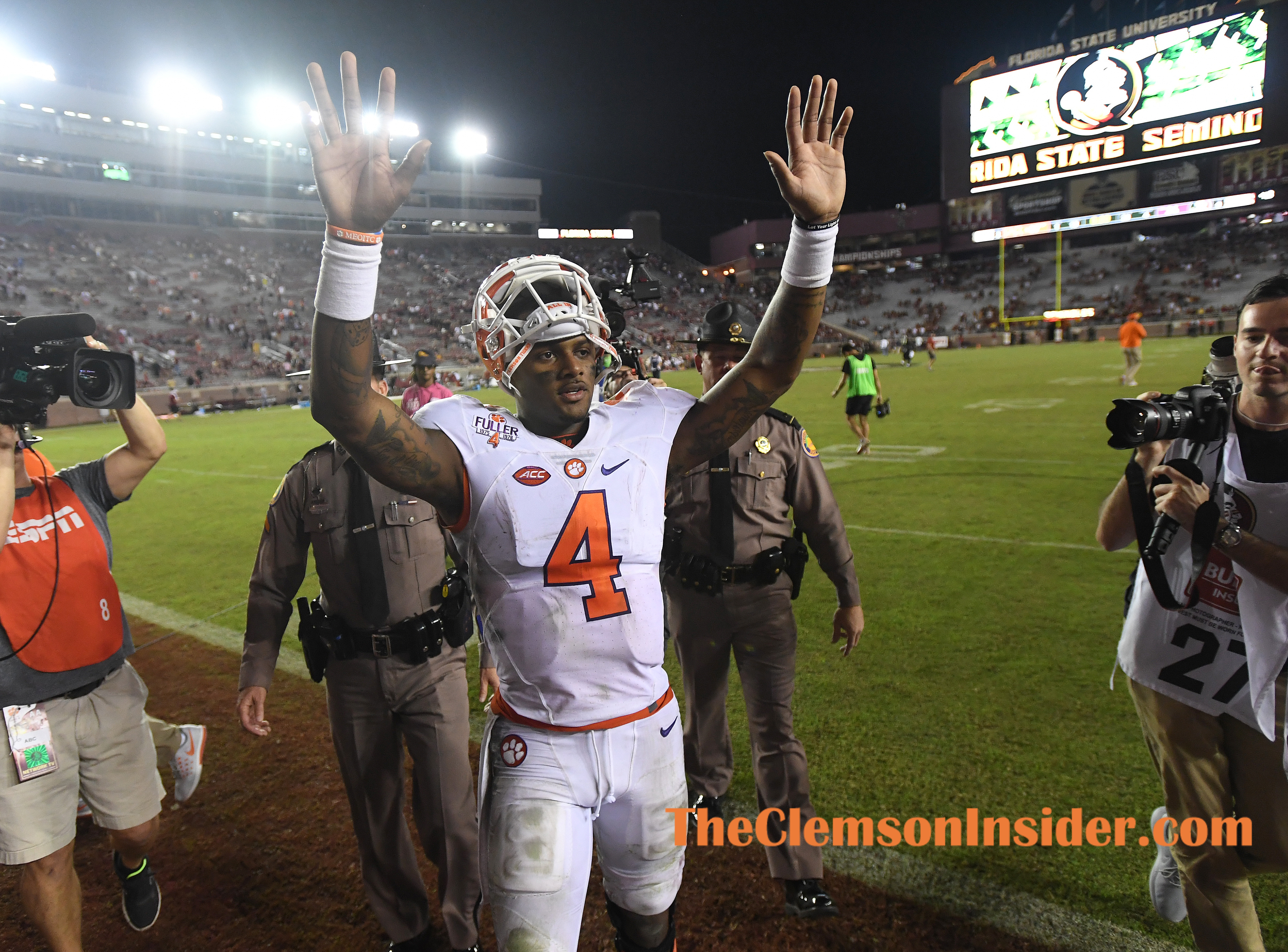 Clemson quarterback Deshaun Watson (4) after the Tigers 37-34 win over Florida State at Florida State's Doak Campbell Stadium in Tallahassee, Fl. on Saturday, October 29, 2016.