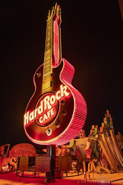 80-foot tall Hard Rock guitar sign at Neon Museum boneyard in Las Vegas