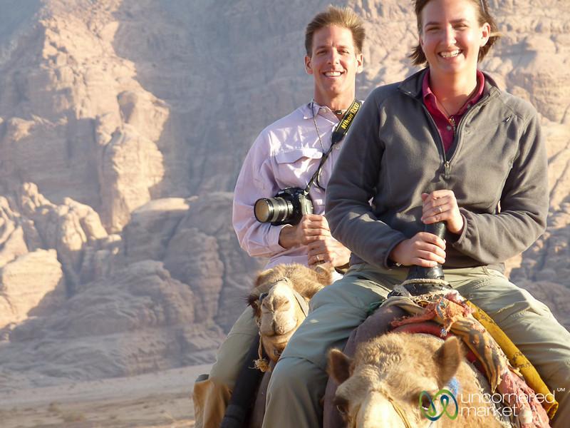 Holding on Tight - Camel Ride at Wadi Rum, Jordan