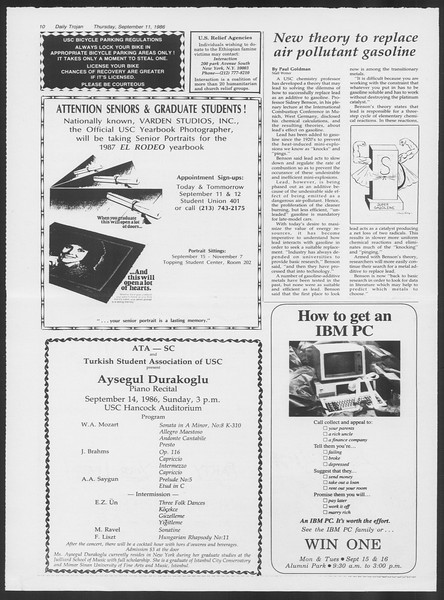 Daily Trojan, Vol. 102, No. 8, September 11, 1986