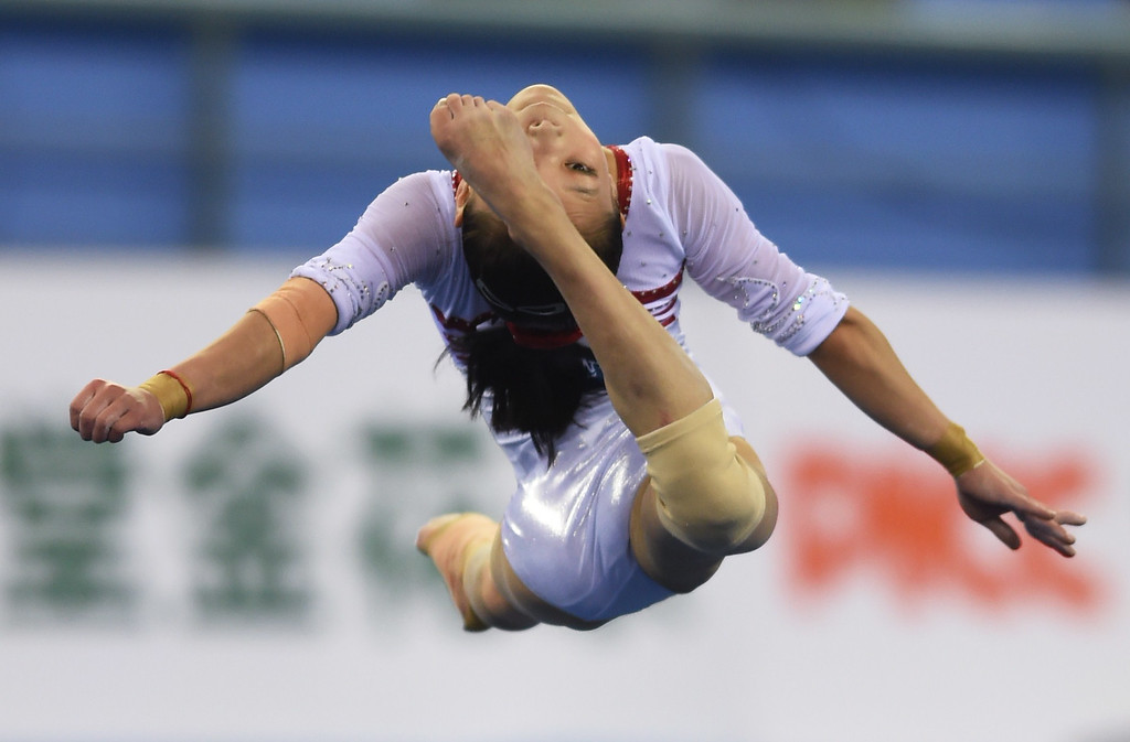 . China\'s Chen Siyi performs in the floor exercise during the women\'s qualification round at the Gymnastics World Championships in Nanning, in China\'s southern Guangxi province on October 6, 2014. GREG BAKER/AFP/Getty Images