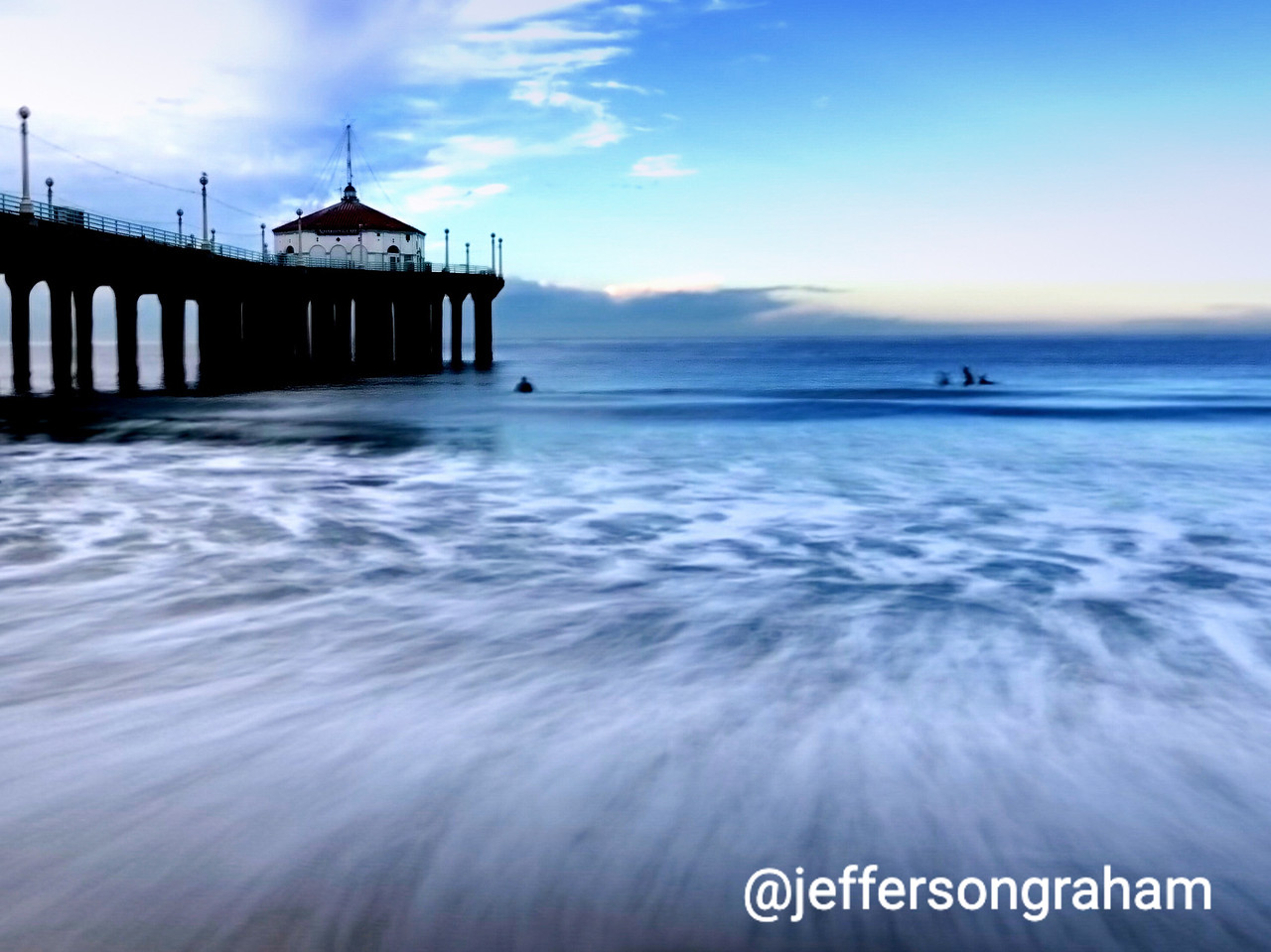 More long exposure tricks on the iPhone, looking out at the Manhattan Beach Pier, with flowing water