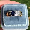 1.55ctw Old Mine Cut and Sapphire Gypsy Ring, GIA 22