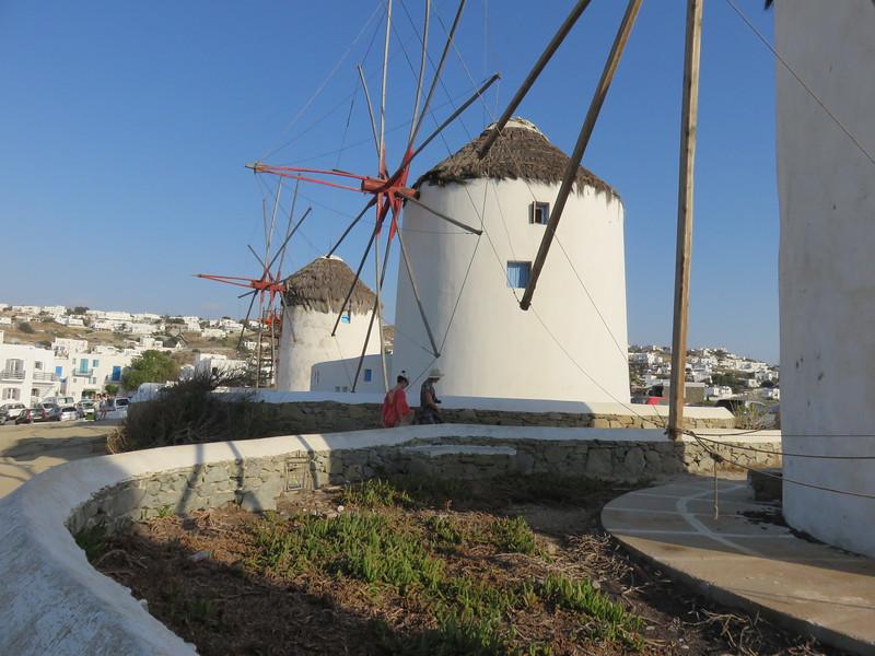 upclose shot of windmills
