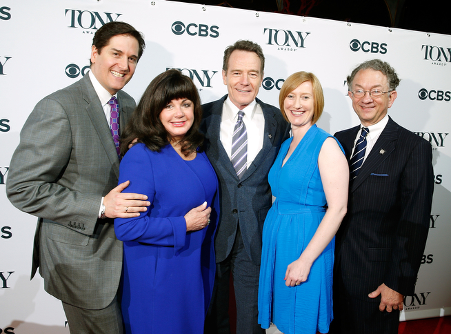 . (L-R) Chairman of the Broadway League Nick Scandalios, Executive Director of the Broadway League Charlotte St. Martin, Actor Bryan Cranston, Executive Director of the American Theatre Wing Heather Hitchens and Chairman of the American Theatre Wing William Ivey Long attend the 2014 Tony Awards Meet The Nominees Press Reception at the Paramount Hotel on April 30, 2014 in New York City.  (Photo by Jemal Countess/Getty Images for Tony Award Productions)
