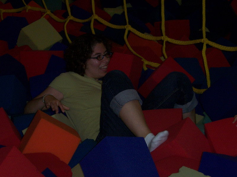 Aaron's aunt Roberta playing in the foam blocks.