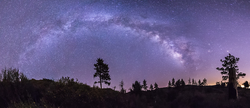 Milky Way Panorama Over the Meadow