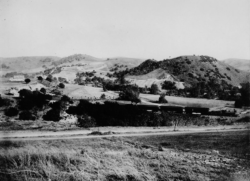 Los Angeles and San Gabriel Railroad bridge under construction over the Arroyo Seco from Highland Park