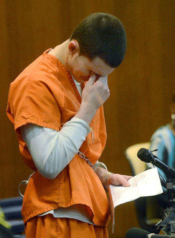 . Mitchell Young wipes away tears while reading a lengthy statement before being sentenced to life with no parole for the beating death of Robert Cipriano, in the courtroom of Oakland County Circuit Court Judge Shalina Kumar,  Wednesday July 24, 2013. (Oakland Press Photo:Vaughn Gurganian)