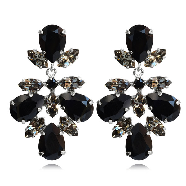 Selene Earrings / Jet + Black Diamond / Rhodium